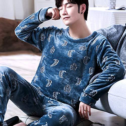 Pijama Hombre Mangas Largas Set,Invierno De Moda Cómodo Hombres Pijamas Set Invierno Thicken Caliente Pijama Dibujos Animados Dibujos Animados Más Terciopelo Hogar Ropa O-Cuello Manga Larga Sleep T