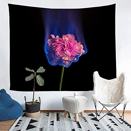Yhjdcc Tapiz floral para niñas y niños, elegante flor ardiente manta de pared, patrón botánico decorativo para colgar en la pared, ramas de plantas, manta de cama de 152 cm