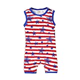 4th of July Baby Boy Bodysuit Shorts Onesie American Flag Romper Jumpsuit Infant Patriotic Clothing(Stripe-A,0-3 Months)