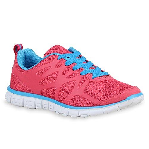 stiefelparadies Damen Lauf Sneaker Low Runners Lack Sneakers Neon Sport Pailletten Schnürer Sport Freizeit Schuhe 69067 Pink Hellblau 38 Flandell