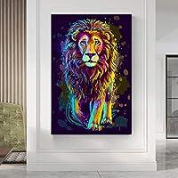 水彩動物グラフィティアートライオンキャンバス絵画ポスタープリントクアドロスウォールアートリビングルーム家の装飾壁画ジクレー60x90cmフレームレス