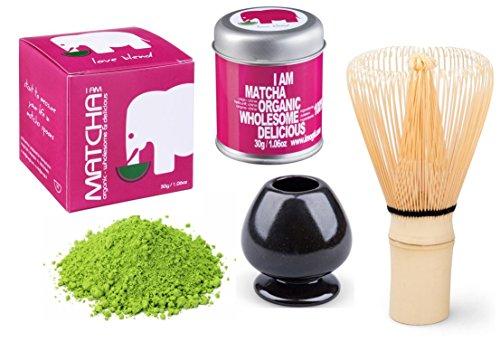 Bio Matcha Power Set - Love Blend - Gold Prämiert 2014 - (30g original Bio Matcha + original Matcha Bambusbesen + Porzellan Besenhalter schwarz oder jadegrün + handgefertigter Matcha Löffel)