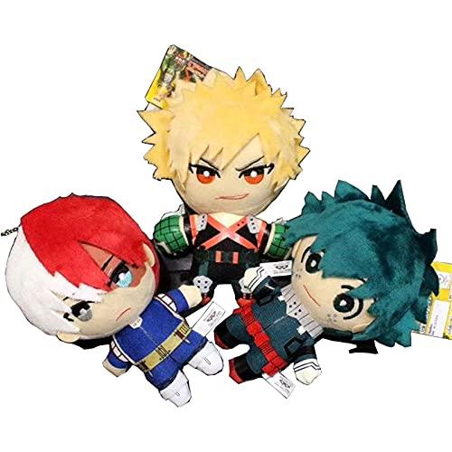 WSYGHP My Hero Academia Izuku Bakugou Shouto TroDoroki Peluche Colgante Llavero Juguete Suave Peluche Toy Regalo 3 PCS Felpa Gigante