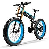 T750Plus 27 velocidad Bicicleta eléctrica plegable 26*4.0 neumático gordo, freno de disco hidráulico, asistencia de pedal Bicicleta eléctrica (Black Blue Upgraded, 1000W+1 batería de repuesto)