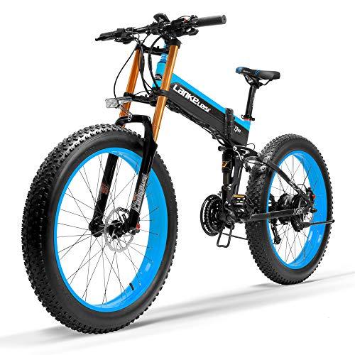 LANKELEISI T750Plus 27 Geschwindigkeit 1000W Elektrisches Fahrrad 26 * 4,0 Fat Bike 5 PAS Hydraulische Scheibenbremse 48V 10Ah Abnehmbare Lithiumbatterie(Schwarz Blau, 1000W UP + 1 Ersatzbatterie)
