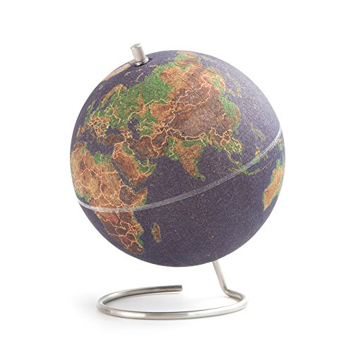 Suck UK Large Desktop Cork Push PINS Included | Educational World MAP | Travel Accessories | Adventure & Memories Display | Globe, Small, Multicolour