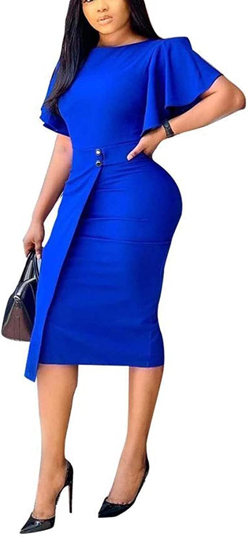 Halfword Women's Office Wear to Work Dress Short Sleeve Bodycon Business Pencil Dress