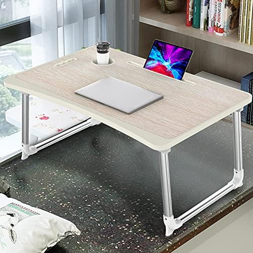 KELOFO Mesa para Ordenador Portátil, Portátil Mesa Cama Plegable Mesa Escritorio Plegable con Portavasos Soporte para Tableta Manija (65 * 45 cm, Roble Amarillo)