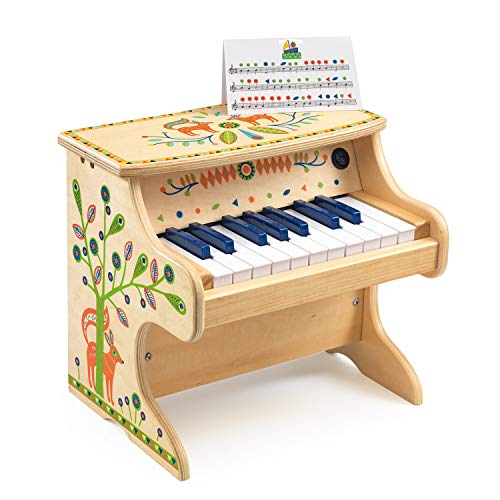 DJECO Animambo 18 Key Electronic Piano Musical Instrument, Tan