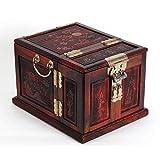 LWW Caja Joyero Chino,Joyero Caja de almacenaje de múltiples Capas Abierta de la Flor de Madera del Cofre del Tesoro con la Cerradura de Cobre