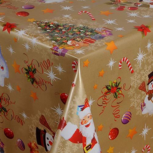 KEVKUS Wachstuch Tischdecke Meterware 01188-01 Weihnachtsmann Schneemann Tannenbaum Gold wählbar in eckig rund oval (Rand: Borte (gehäkelte Bordüre), 50 x 140 cm eckig)