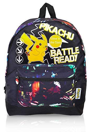 Pokémon Glow in The Dark Backpack, Gym Bag | Large Rucksack with Pikachu | Pokemons Drawstring Bags, Gym, Swimming School Bag for Children with Fluorescent Text (Backpack)