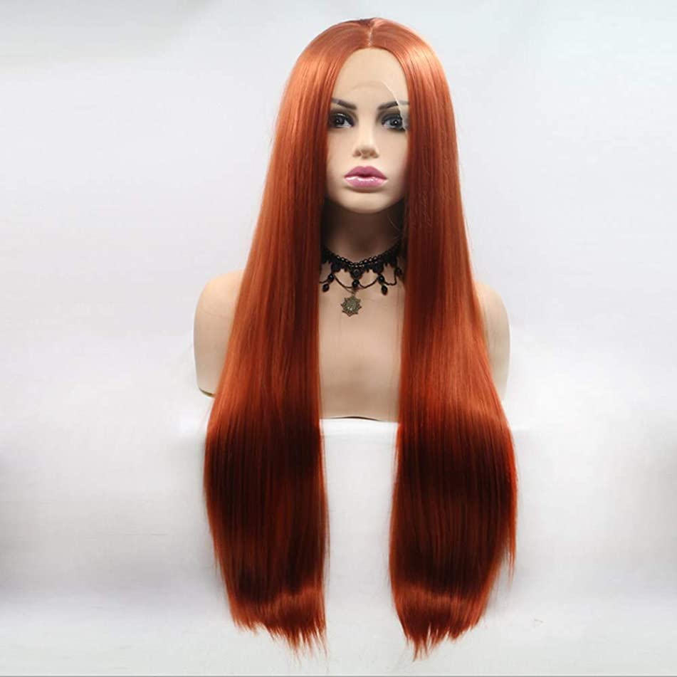 Greenmirr Wine Red Lace Front Wigs with Long Straight Synthetic Hair Heat Resistance 22in