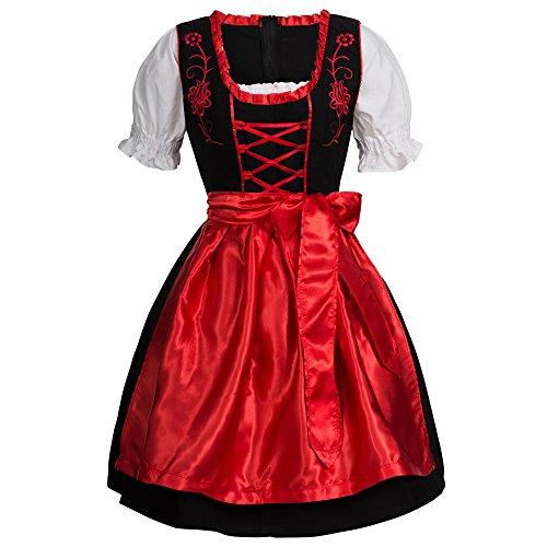 Mufimex Damen Dirndl Kleid Dirndlkleid Trachtenkleid Midi Schwarz Leuchtend Rot 42