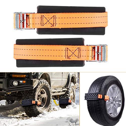 Hlyjoon Reifenradkette, 2-teilige Kette Rutschfester Notschnee für EIS/Schnee/Schlamm/Sand Road Safe Driving Truck SUV Auto Auto Zubehör