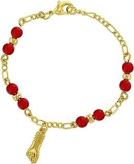 comprar comparacion In Season Jewelry - Pulsera para bebé chapada en oro de 18 quilates con amuleto de mano de Figa de protección contra el ma...