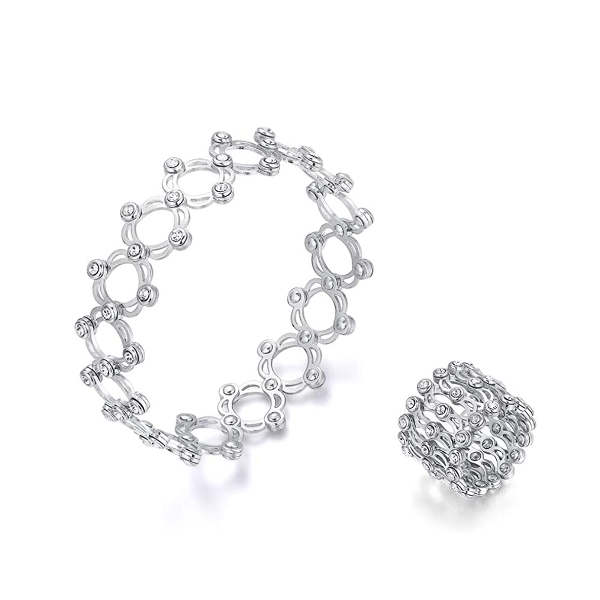 Stainless Steel Adjustable Rings   Crystal Magic Rings   Change Into Bangle Hollow Dual Use Deformation Rings   for Women
