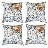 BHICULTD Juego de 4 fundas de almohada decorativas para gatos, diseño de dólar de gato, 12 x 12 pulgadas, fundas de cojín cuadradas, fundas de cojín para sofá, sala de estar