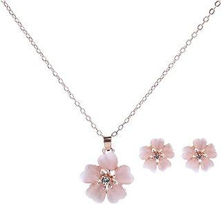 Rhinestone Cherry Blossom Branch Pendant Necklace Earrings Stud Set Wedding Jewelry for Women Girls