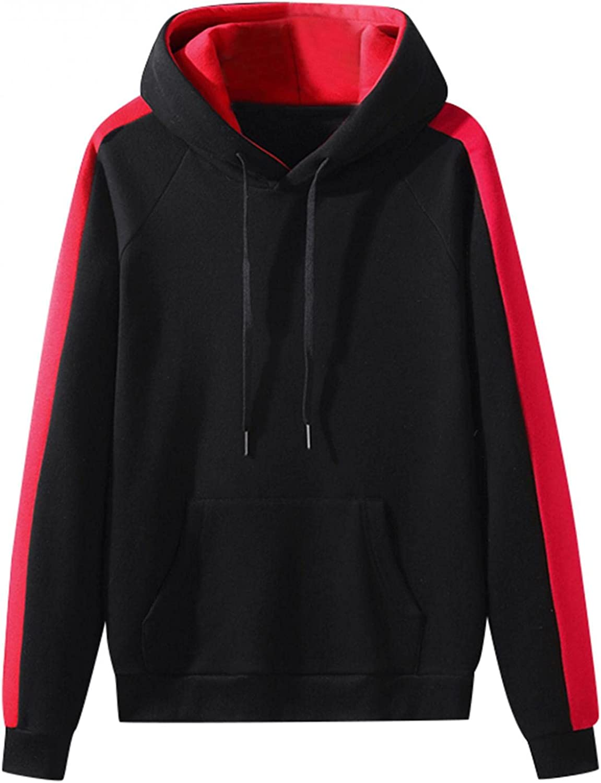 Men's Sweatshirts Cozy BlockColor Sport Sweatshirt Drawstring Gym Fleece Pullover Long Sleeve Mens Athletic Hoodies