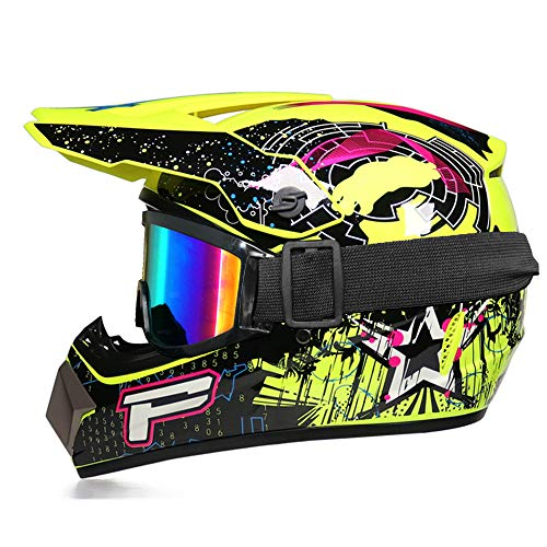 Integralhelm, Motocross-Helm für Kinder – herausnehmbares Innenfutter, Motocross-Helm, BMX, Quad, Enduro, ATV, Scooter mit Goggle/Handschuhe (Gelb, L)
