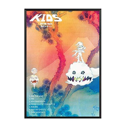 GUICAI Kanye West Kid Cudi Kids See Ghosts Álbum Música Pop Pintura Arte Póster Impresión Lienzo Decoración para el hogar Imagen Impresión de la Pared -50X70 cm Sin Marco 1 Pcs