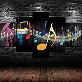 5 Piezas Cuadros sobre Lienzo-De Lienzo Cartel De Arte De ImpresióN HD Modular Fondo De Pantalla Sala De Estar De La Pared DecoracióN Pinturas,Notas Musicales Símbolo De Música,con Marco-150 * 80cm