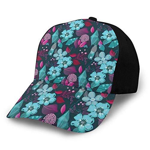 JONINOT Hombres Mujeres Gorra de béisbol Ajustable Sombrero Flow of Pale Flores Azules y Hojas Coloridas Patrón de Arte de jardín de fantasía romántica