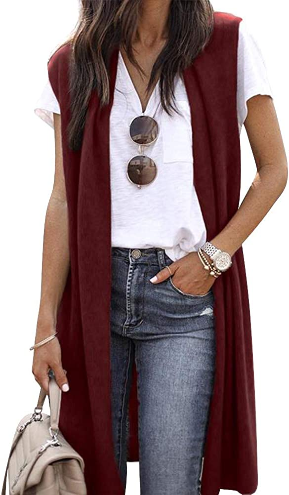 Women Sleeveless Vest Open Front Solid Color Tunic Cardigan Tops Outwear