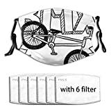 YICHENGG Face Cover Doodle BMX Wheel Pedal Bike Equipment Sports Recreation Fitness Gear Leisure Healthy Balaclava Reusable Anti-Dust Mouth Bandanas with 6 Filters