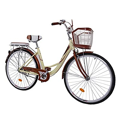 26 inch Beach Cruiser Bike for Women, High Tensile Carbon Steel Commuting Bike, Sigle-Speed City Bicycle with Basket (US in Stock)
