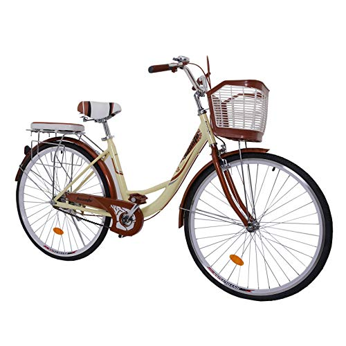 hosote Women's Beach Cruiser Bike, 26 Inch Single-Speed Comfort Coummter Bicycle, Multiple Colors