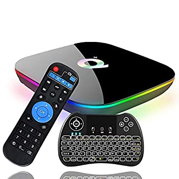 Android 9.0 TV Box EVANPO Smart Box Android TV Player 4GB RAM 64GB ROM Quad Core Speed Support 3D/ 4K/ 6K Ultra HD/H.265/2.4GHz WiFi/USB 3.0/ HDR with Wireless Mini Keyboard