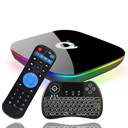 Android 9.0 TV Box, EVANPO Smart Box Android TV Player 4GB RAM 64GB ROM Quad Core Speed Support 3D/ 4K/ 6K Ultra HD/H.265/2.4GHz WiFi/USB 3.0/ HDR with Wireless Mini Keyboard