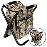 Outrav Camo Backpack Cooler and Stool - Collapsible Folding Camping Chair and Insulated Cooler Bag with Zippered Front Pocket and Bottle Pocket – for Hiking, Beach and More