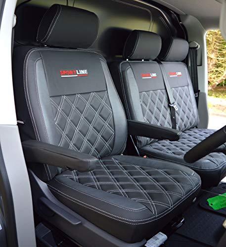 Fundas de asiento de color negro y peltre para VW Volkswagen Transporter T6 Genuine Fit Sportline