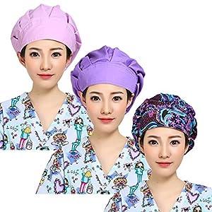 TENKOO 3pcs Women's Adjustable Cute Printed Bouffant Turban Hats Working Cap with Sweatband, Multi Color