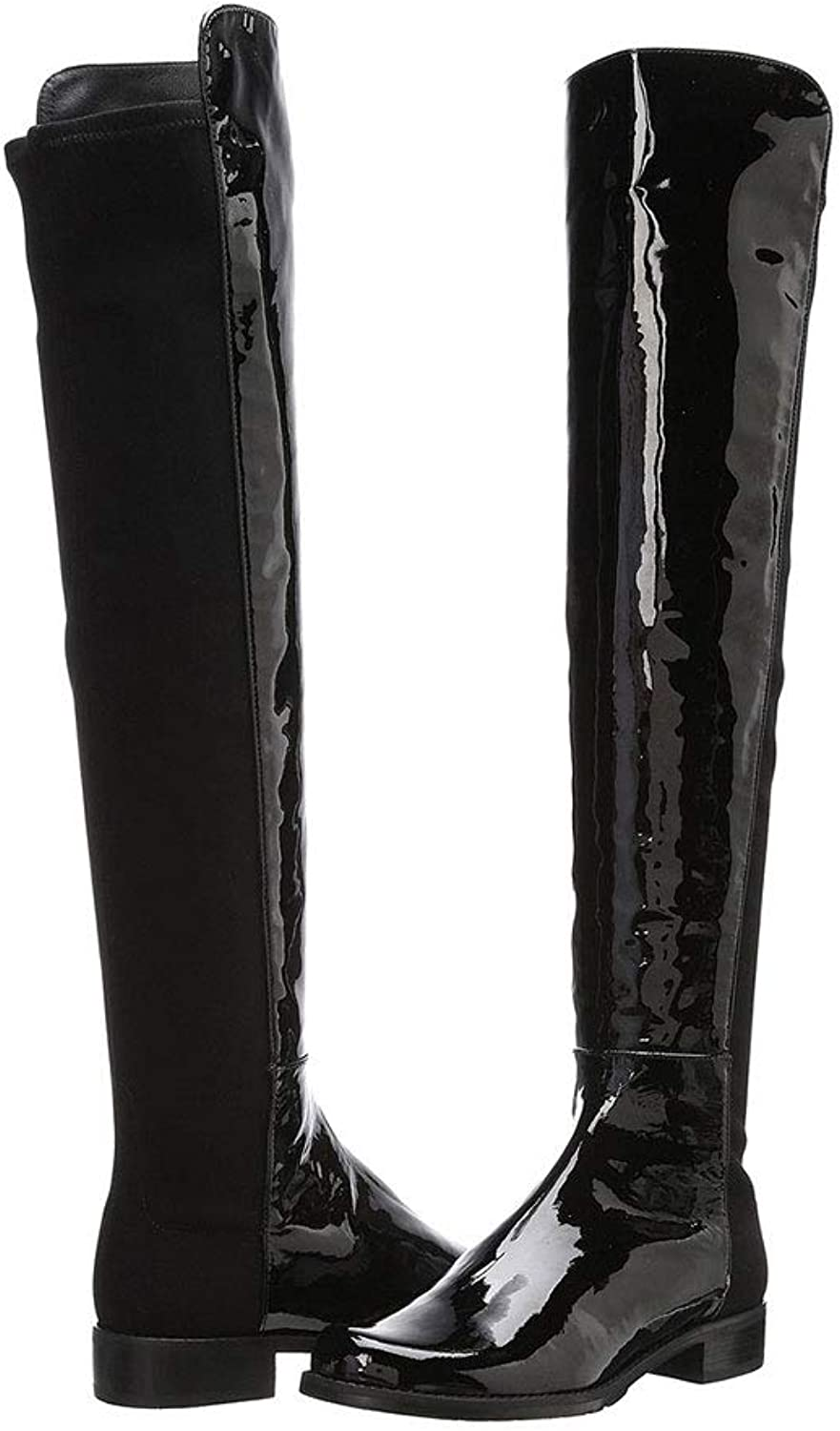 Women's Flat Knee Boots Low Heel Patent Leather Knight Boots High Boots Spell Leather Round Head Warm Boots