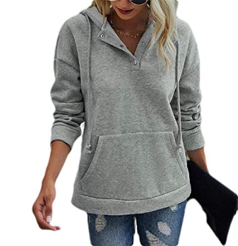H&E Womens Drawstring Solid Pullover Long Sleeve Tops Sweatshirts Hoodie 2 US M