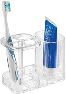 iDesign Med+ Toothbrush Holder, Plastic Dental Center with Toothbrush Stand and Toothpaste Compartment, Clear