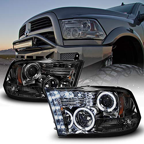 ACANII - For 2009-2018 Dodge Ram 1500 10-18 2500 3500 LED Halo Ring Smoked Lens Projector Headlights Headlamps Assembly