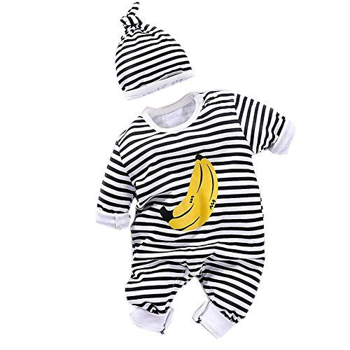 Fairy Baby Niedliches Baby-Outfit für Jungen, langärmelig, Strampler mit Hut, 0-24 Monate Gr. 59 cm (0-3 Monate), Banane Stripe