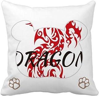 OFFbb-USA Animal Wings Myth Oriental Dragon Bear - Funda de almohada cuadrada