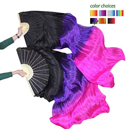 KIKIGOAL 1 Pair(Left+Right) Women Real Silk Belly Dance Fan Veil, Length 180cm Width 90cm (Gradual Pink)