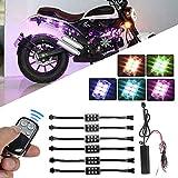 MOGOI Motorrad-LED-Leuchten-Kit, RGB-LED-Lichtstreifen Multi-Color-Akzent Glow Neon Atmosphäre Lichter Lampe Mit Drahtloser Fernbedienung Für Harley Davidson Suzuki BMW