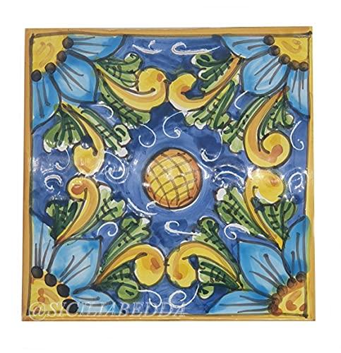 Sicilia Bedda - PIASTRELLA IN CERAMICA SICILIANA - Realizzata e Dipinta a Mano - 15 x 15 x 0.8 CM (Fantasia Siciliana Blu)