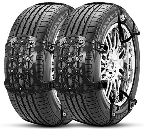 【2020最新改良版】タイヤチェーン 非金属 ジャッキアップ不要 車用チェーン スノーチェーン 165-265mm対応...