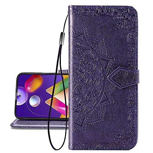 COTDINFORCA Etui für Huawei P40 Lite 5G Hülle, PU Leder Cover Schutzhülle Magnet Tasche Flip Handytasche im Bookstyle Kartenfächer Lederhülle für Huawei Nova 7 SE Half Mandala Purple SD