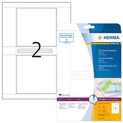 HERMA 4373 CD DVD Cover Etiketten / Einleger für Jewel- und Slim Cases DIN A4 (121,5 x 117,5 mm, 25 Blatt, Papier, matt) selbstklebend, bedruckbar, permanent haftende Papier-Cover, 50 Inlays, weiß