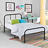 Voilamart Twin Size Metal Bed Frame 6 Legs Platform No Box Spring Needed with Headboard and Footboard Design Mattress Foundation for Boys Kids Bedroom